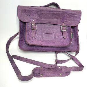 Zatchels purple leather messenger bag